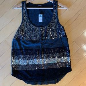 Brand new - Black and gray block sequin tank